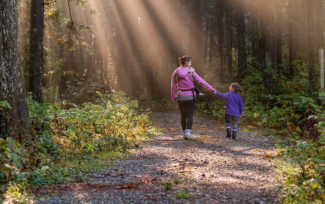 Mother and child walking through a lush, green forest with lots of light seeping through the trees
