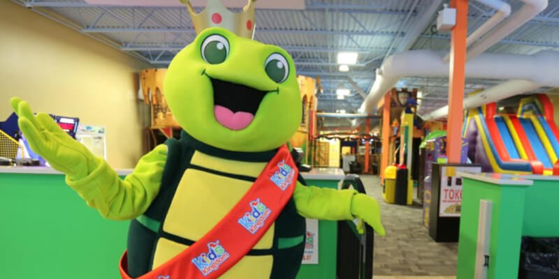 Kids Kingdom mascot at the indoor playground