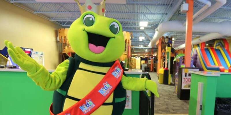Kids Kingdom mascot at the indoor playground