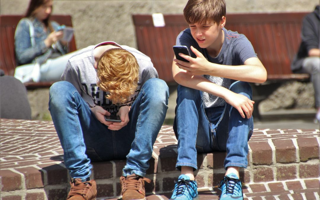 Two young boys sitting on a step and staring at their phones.